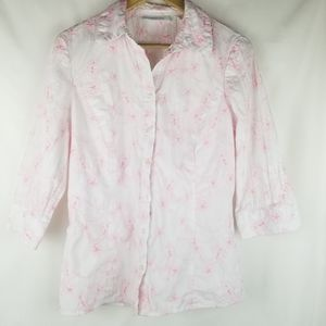 Tantrums Women's 3/4 Sleeve Button Up Top Size M
